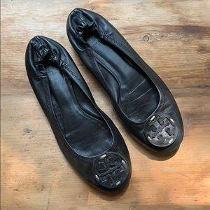 Tory Burch Reva Black Leather Ballet Flats